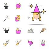 dobra czarownicy ikona magiczny ikony ogólnoludzki ustawiający dla sieci i wiszącej ozdoby ilustracji