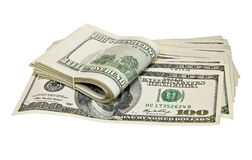 Dobrado cem notas de dólar isoladas no branco Foto de Stock Royalty Free
