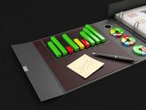 Dobrador com cartas, da pasta de anel ilustração 3d Apresentação de marcagem com ferro quente do dobrador do cartão do escritório foto de stock