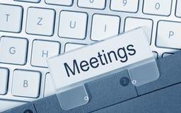 Dobrador das reuniões no computador Imagens de Stock