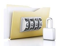 Dobrador e fechamento Conceito da segurança dos dados ilustração 3D Fotografia de Stock