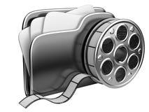 Dobrador video com um carretel de filme Imagens de Stock