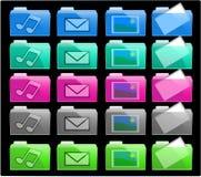 Dobradores coloridos do ícone Fotografia de Stock