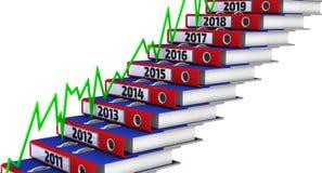 Dobradores empilhados sob a forma das etapas, marcado os anos 2011-2019, e gráfico verde ilustração stock