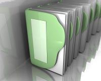Dobradores verdes com Livros Brancos dentro da arte 3d Foto de Stock Royalty Free