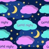Dobranoc bezszwowy wzór Zdjęcia Stock