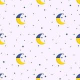 Dobranoc bezszwowy wzór z śliczną sypialną księżyc i gwiazdami ilustracji