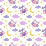 Dobranoc bezszwowy wzór z ślicznymi sypialnymi sowami, księżyc, gra główna rolę i chmurnieje Słodkich sen tło royalty ilustracja