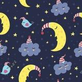 Dobranoc bezszwowy wzór Obraz Royalty Free