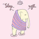 Dobranoc ilustracja Sen well inskrypcja z cytującego slee Fotografia Royalty Free
