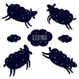 Dobranoc karta z skokowymi sheeps Obliczenie, sen ilustracji
