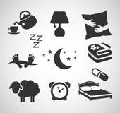 Dobranoc - sen ikony set Obrazy Stock