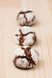 Dobras do chocolate em uma fileira Foto de Stock