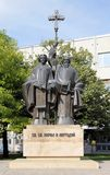 DOBRICH, BULGARIA - CIRCA JUNE 2018: Monument to Saints Cyril and Methodius in Dobrich, Bulgaria. Monument to Saints Cyril and Methodius in the ciy of  Dobrich stock photography