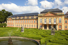 Dobris chateau. Rococo house with a distinct facade dates from the years 1745-1765, when the reconstruction realized JindÅ™ich Pavel Mansfeld. French Gardens royalty free stock images