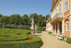Dobris chateau. Rococo house with a distinct facade dates from the years 1745-1765, when the reconstruction realized JindÅ™ich Pavel Mansfeld. French Gardens stock photography