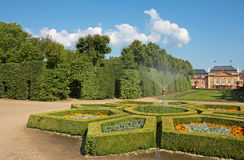 Dobris chateau. Rococo house with a distinct facade dates from the years 1745-1765, when the reconstruction realized Jindřich Pavel Mansfeld. French Gardens: A Royalty Free Stock Photo