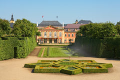 Dobris chateau. Rococo house with a distinct facade dates from the years 1745-1765, when the reconstruction realized Jindřich Pavel Mansfeld. French Gardens: A Royalty Free Stock Images