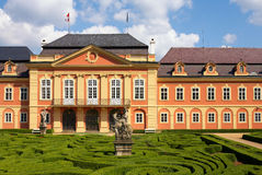 Dobris chateau. Rococo house with a distinct facade dates from the years 1745-1765, when the reconstruction realized JindÅ™ich Pavel Mansfeld. French Gardens stock photos