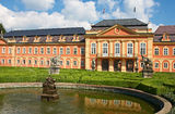 Dobris chateau. Rococo house with a distinct facade dates from the years 1745-1765, when the reconstruction realized JindÅ™ich Pavel Mansfeld. French Gardens royalty free stock photo