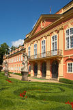 Dobris chateau. Rococo house with a distinct facade dates from the years 1745-1765, when the reconstruction realized Jindřich Pavel Mansfeld. French Gardens: A Royalty Free Stock Photography