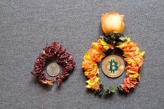 Dobrobyt Bitcoin i śmierć konwencjonalny pieniądze zdjęcia stock