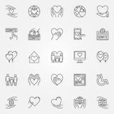 Dobroczynność cienkie kreskowe ikony ilustracja wektor
