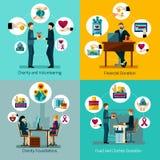 Dobroczynność darowizn 4 ikon płaski kwadrat royalty ilustracja