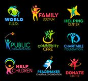 Dobroczynność fundacyjne ikony z zaludniają i ręki royalty ilustracja