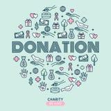 Dobroczynność i darowizny Set z cienkimi kreskowymi ikonami Wektorowy Illustratio royalty ilustracja