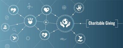 Dobroczynność i reliefowa praca - Dobroczynny Daje sieć sztandar z ikoną ilustracji