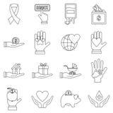 Dobroczynność ikony ustawiać, mieszkanie styl ilustracja wektor