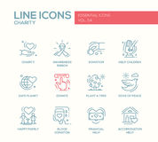 Dobroczynność - kreskowe projekt ikony ustawiać ilustracja wektor