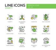 Dobroczynność - kreskowe projekt ikony ustawiać royalty ilustracja