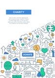 Dobroczynność - kreskowej projekt broszurki plakatowy szablon A4 royalty ilustracja