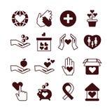 Dobroczynność ręki, opieka i ochrona, gromadzi fundusze usługa, darowizna, organizacja niekomercyjna, afekcja wektoru ikony ilustracja wektor