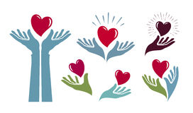 Dobroczynność, zdrowie logo Medycyna, szpital, życie etykietka lub ikona, również zwrócić corel ilustracji wektora ilustracja wektor