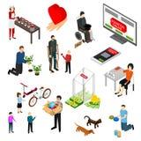 Dobroczynności darowizny finansowania ikony Ustalony 3d Isometric widok wektor ilustracja wektor
