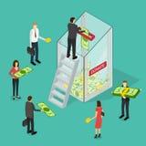 Dobroczynności darowizny finansowania pojęcia 3d Isometric widok wektor ilustracja wektor