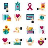 Dobroczynności darowizny płaskie ikony ustawiać royalty ilustracja