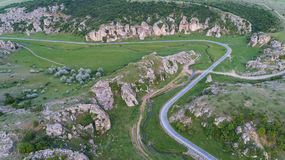 Dobrogea Gorges Cheile Dobrogei Romania. Mountain landscape with some of the oldest limestone rock formations in Europe in Dobrogea Gorges Cheile Dobrogei Stock Photo