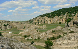 Dobrogea Gorges. Mountain landscape with unique bizarre limestone rock formation, some of the oldest in Europe, dating back to Mesozoic period, in Dobrogea Royalty Free Stock Image