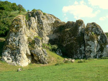 Dobrogea Gorges. Mountain landscape with unique bizarre limestone rock formation, some of the oldest in Europe, dating back to Mesozoic period, in Dobrogea Royalty Free Stock Images