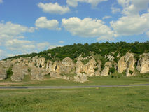 Dobrogea Gorges. Mountain landscape with unique bizarre limestone rock formation, some of the oldest in Europe, dating back to Mesozoic period, in Dobrogea Stock Images