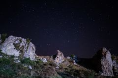 Dobrogea gorges by night, Romania. Dobrogea gorges landscape at night Royalty Free Stock Photo