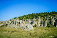 Dobrogea gorges, Romania. Dobrogea gorges landscape at sunset Royalty Free Stock Photos