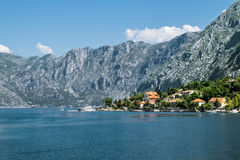 Dobrota town in the Bay of Kotor in sunny day Royalty Free Stock Photo