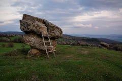 Dobrovanski vaggar champinjoner på skymning, Bulgarien Royaltyfri Fotografi