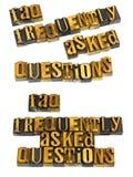 Dobrowolnie pytać pytania faq letterpress fotografia stock