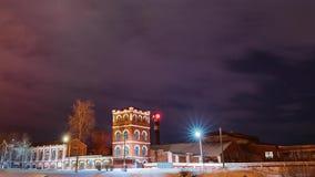 Dobrush, región de Gomel, Bielorrusia Lapso de tiempo Timelapse de time lapse a partir de la tarde a la noche de la torre de pape almacen de video